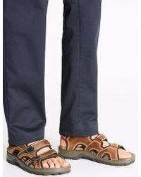 Marks & Spencer - Leather Three Strap Riptape Sandals - Lyst