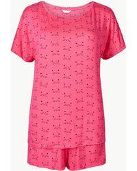 Marks & Spencer - Short Sleeve Cat Print Pyjama Set - Lyst