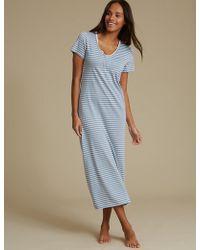 Lyst - Marks   Spencer Modal Blend Crochet Trim Short Nightdress in Gray 13a309e1e