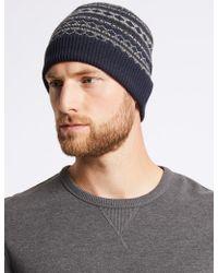 Marks & Spencer - Fairisle Beanie Hat - Lyst