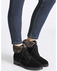 Marks & Spencer - Wide Fit Suede Block Heel Ankle Boots - Lyst