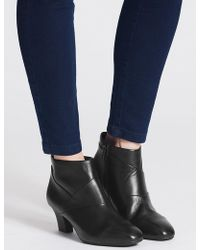 Marks & Spencer - Leather Block Heel Ankle Boots - Lyst
