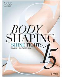 Marks & Spencer - 2 Pair Pack 15 Denier Secret Slimmingtm Shine Body Shaper Tights - Lyst