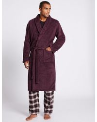 Marks & Spencer - Supersoft Fleece Dressing Gown - Lyst