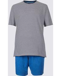 Marks & Spencer - Pure Cotton Striped Pyjama Shorts Set - Lyst