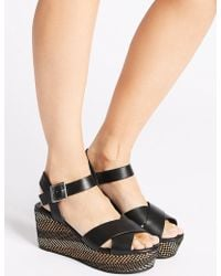 Marks & Spencer - Wedge Heel Textured Crossover Sandals - Lyst