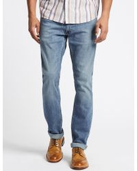 Marks & Spencer - Slim Fit Selvedge Jeans With Stormweartm - Lyst