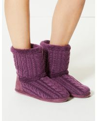 Marks & Spencer - Cable Knit Slipper Boots - Lyst