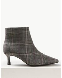 Marks & Spencer - Wide Fit Checked Kitten Heel Ankle Boots - Lyst