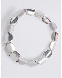 Marks & Spencer - Silver Plated Twist Nugget Stretch Bracelet - Lyst