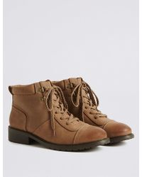 Marks & Spencer - Block Heel Lace-up Toe Cap Ankle Boots - Lyst