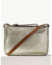 Marks   Spencer - Leather Metallic Cross Body Bag - Lyst 0487e4167bf7d