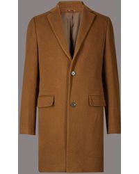 Marks & Spencer - Wool Rich Revere Overcoat - Lyst