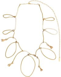 Marni - Necklace In Gold Metal And Ceramic With Rhinestones - Lyst