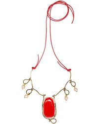 Marni - Necklace In Metal, Pearl And Polished Stones - Lyst