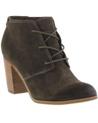 TOMS - Lunata Lace Up Suede Heeled Ankle Boots - Lyst