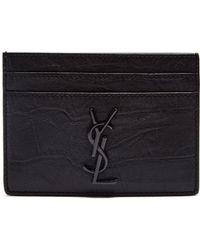 Saint Laurent - Monogram Crocodile Effect Leather Cardholder - Lyst