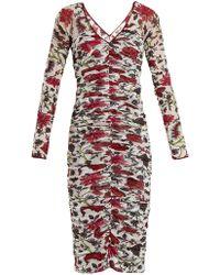 Diane von Furstenberg - Canton Print Ruched Mesh Dress - Lyst