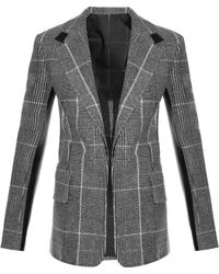 CALVIN KLEIN 205W39NYC - Leather-Panel Checked Wool Blazer - Lyst