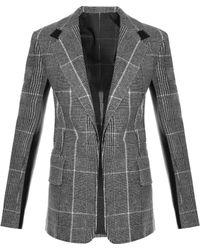 Calvin Klein - Leather-Panel Checked Wool Blazer - Lyst