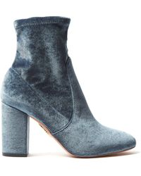 Aquazzura - So Me 90 Velvet Ankle Boots - Lyst