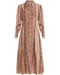 Emilia Wickstead - Lucinda Python Print Silk Shirtdress - Lyst