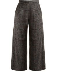 MUVEIL - Wide-leg Cropped Checked Wool-blend Trousers - Lyst
