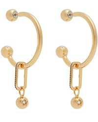 Burberry - Hoop And Crystal-embellished Pendant Earrings - Lyst