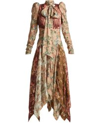Zimmermann - Unbridled Floral-print Contrast-panel Silk Dress - Lyst