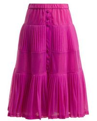 N°21 - Elasticated-waist Pleated Organza Skirt - Lyst