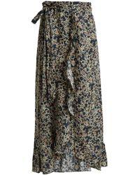 Étoile Isabel Marant - Alda Abstract-print Linen Wrap Skirt - Lyst