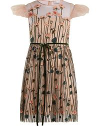 RED Valentino - Floral Embroidered Tulle Mini Dress - Lyst