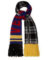 Versace - Checked Logo-intarsia Wool Scarf - Lyst
