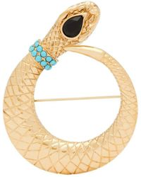 Etro - Turquoise And Crystal Embellished Snake Brooch - Lyst