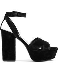 Saint Laurent - Farrah Crossover Velvet Platform Sandals - Lyst