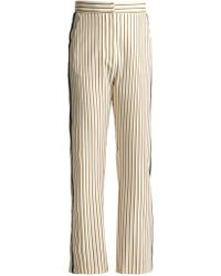 See By Chloé - Pinstriped Straight-leg Cropped Crepe Trousers - Lyst