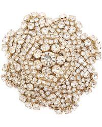 Rebecca de Ravenel - Ava Crystal Embellished Flower Brooch - Lyst