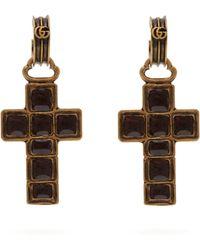 Gucci - Cross Drop Earrings - Lyst