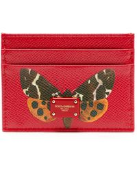 Dolce & Gabbana - Butterfly Print Leather Cardholder - Lyst