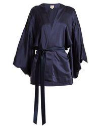 Chufy - Kimono-sleeved Tie-waist Silk Blouse - Lyst