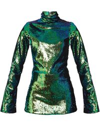 Halpern | High-neck Sequin-embellished Top | Lyst