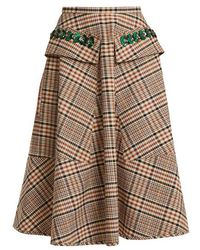 N°21 - Sequin-embellished A-line Checked Cotton Skirt - Lyst