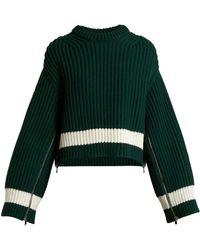 Alexander McQueen - Zip Sleeved Step Hem Wool Blend Jumper - Lyst