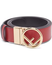 Fendi - Logo Shearling And Leather Belt - Lyst