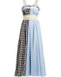 Lee Mathews - Clara Gingham Cotton Blend Apron Dress - Lyst