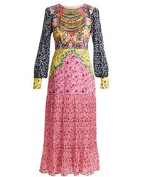 Saloni - Vera Daisy Floral-print Silk Dress - Lyst