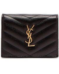 Saint Laurent - Monogram Leather Purse - Lyst