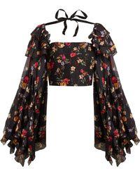 Rodarte - Square Neck Floral Print Silk Blend Blouse - Lyst