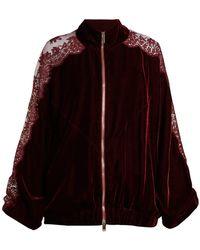 Stella McCartney - Lace Insert Stripe Trimmed Zip Up Sweatshirt - Lyst