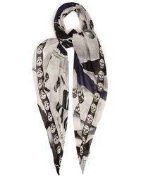 Alexander McQueen Skull & Rose Print Silk Blend Chiffon Scarf - Black